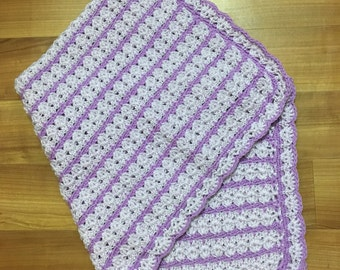 Crocheted light/dark purple baby blanket