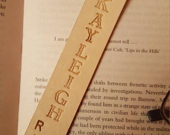"personalized veg tan leather bookmark ""shhh"""