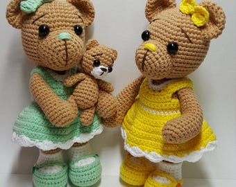 crochet amigurumi pattern (Bear with baby)