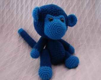 Blue Monkey Amigurumi Toy ** FREE SHIPPING**