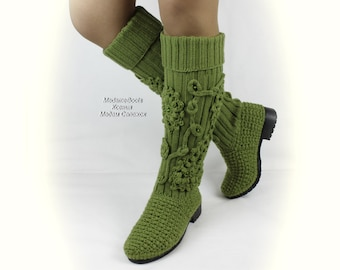 Knitted boots for women high shoe pistachio demi boots