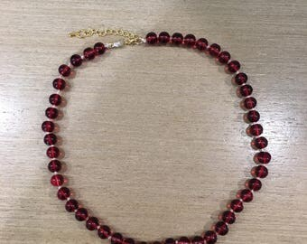 Red Beaded Layering Necklace