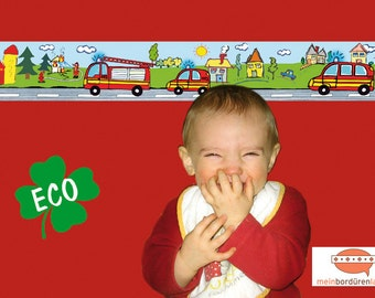 ECO kids trim: fire - borders for children, border for allergy sufferers, wall border, nonwoven, wall trims, fire