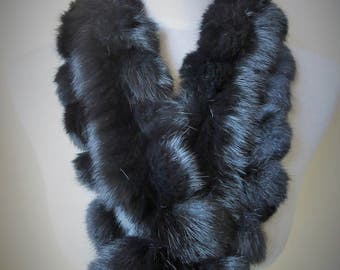 Real Handmade Black Rabbit Fur Scarf Collar