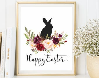Easter Decoration print, Happy Easter Print wall art decor, Easter art, Easter Home Decor, Easter Prints, Easter Sign, Easter Rabbit print