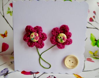 Hand-Knitted Flowers - Blank Greetings Card