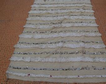 Moroccan wedding blanket,Handmade blanket;Berber handira blanket MH 019  210 cm * 129  cm