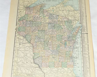 1915 Antique Wisconsin Map