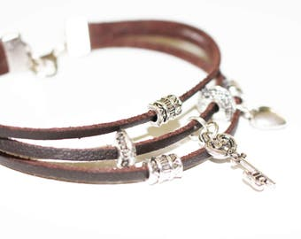 Ladies Bracelet, Leather Bracelet, Key, Heart