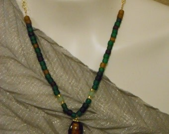 Earth tone glass bead necklace