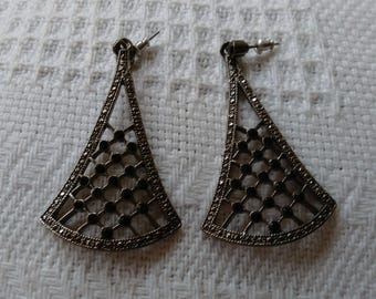 Vintage Marcasite & Black Triangular Drop Earrings