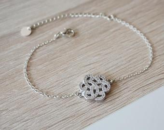 arabesque silver plated rhinestone bracelet - trendy design