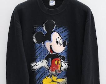 Vintage MICKEY MOUSE Walt Disney Cartoon Character Black Pullover  Sweater Sweatshirt Size M