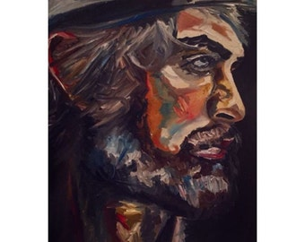 Urban Native, Oil Portrait Painting of Homeless Man with Hat