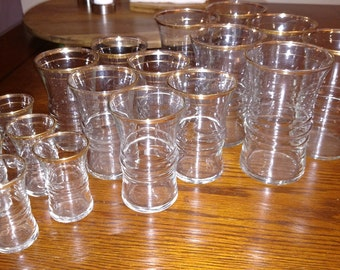 18 PC Vintage Glasses gold trimmed
