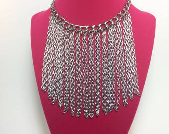 Jennifer- Fringe Bib Choker Necklace