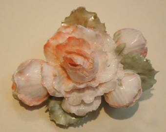 Vintage 1960's Peachy Pink Porcelain Cabbage Rose Flower Brooch Floral Pin Up Pastel Wedding
