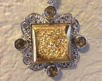 """Sterling silver, drusy, and twilight topaz pendant. Sterling silver 18"""" chain"""
