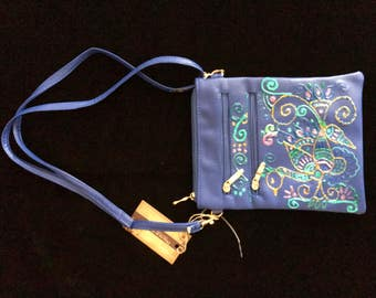 Hand Painted Handbag - Blue