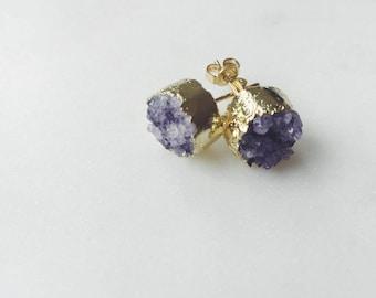 Amethyst Druzy Stud Earrings 14k Gold Plated