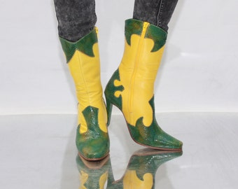 Vintage 90' Amazing Unique Yellow Cowboy High Heel Boots