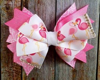 Pretty Pink Flamingo Bow, Flamingo, Pink Flamingo, Pink Bow, Flamingo Bow