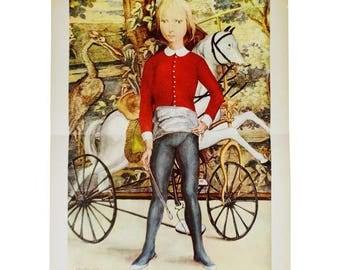 "Vintage Mid Century Print Titled ""Little Cavalier"" by Tsuguharu Foujita"