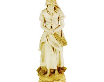 Vintage L'Angelus Chalkware Statue by Marwal Ind. Inc.