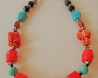 Coral and turquoise and Silver necklace
