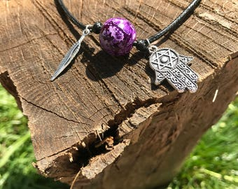 Purple Spirit Bead with Silver Charms