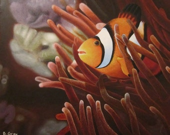 Original Clownfish Acrylic Painting 20'' X 24''