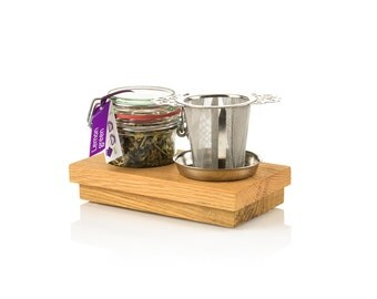 Handmade oak wooden base with 1 weck jar premium quality loose tea and a STAINLESS STEEL tea strainer