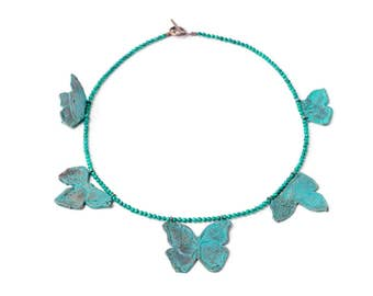 Blue butterfly bronze and agate necklace