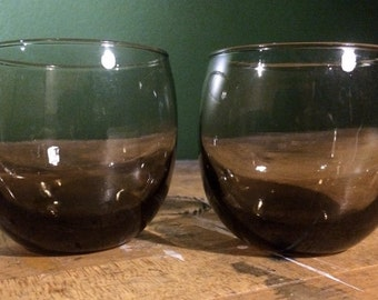 Set of 2 Mid Century Modern Dominion Smoked Roly Poly Glasses Lowball Glass MCM