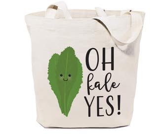 Cotton Canvas Oh Kale Yes! Reusable Grocery Bag and Farmers Market Tote Bag, Food Pun, Shopping, Funny Women's Gift, Cute Shoulder Bag