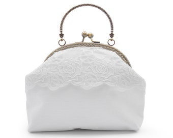 Handbag vintage style lace and fabric