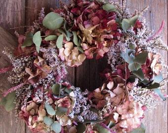 Dried Hydrangea Wreath - Bunty