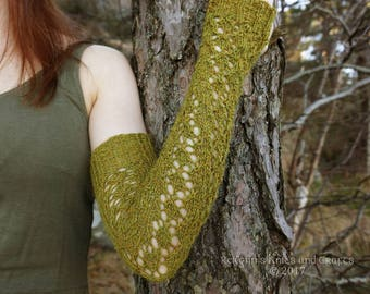 Long Light Green Knitted Arm Warmes