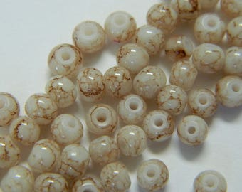 4MM Cream & Brown Spacer Beads - Brown Spotted Glass Beads - 50 Glass Spacer Beads Per Order - Detash Emporium