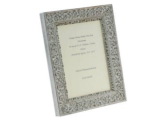 """Hand made shabby chic  Ornate Distressed White vintage photo frame for an 8"""" x 6"""" picture."""