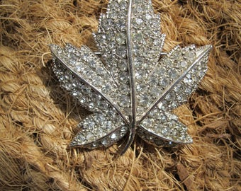 Vintage Studded Maple Leaf Brooch