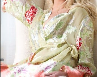 Asmara Silk Robe - Lime & Orange