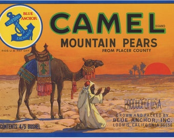 Camel Pears Crate Label