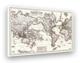 Telegraph Lines, World Map 1871, Showing Circuit Around The Globe, Framed Canvas Print, Stretched And Ready To Hang, Retro Wall Art
