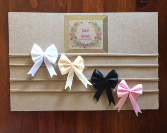 Ribbon Bow Soft Nylon Headbands (Set of four) | White Bow Nylon Headband | Cream Bow Nylon Headband | Black Bow Nylon Headband