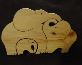 3D Wooden Elephant Family