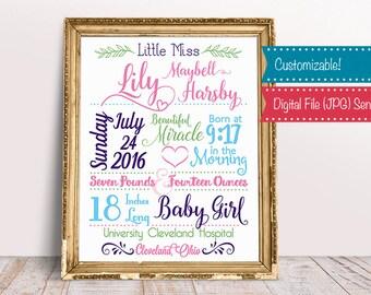 Birth Announcement, New Baby, Baby Birth Stats, Newborn Birth Announcement, Nursery Wall Art, Custom Designed File