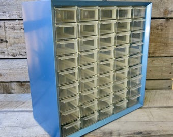 Vintage Akro Mils Industrial Parts Bin Metal With 45 Plastic Drawers