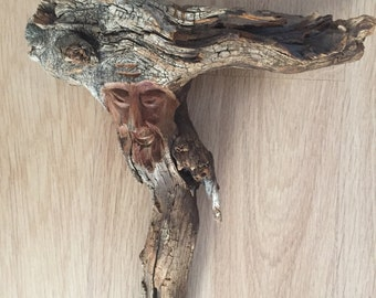 Unique hand carved Wood Spirit on driftwood