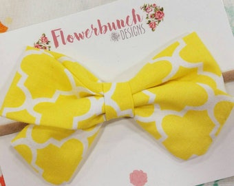 Yellow Patterned Classic Bow in Headband or Clip